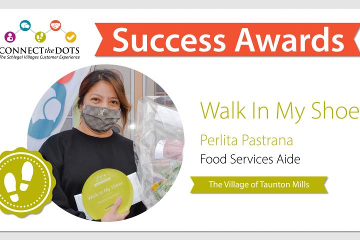 Walk In My Shoes award presented to Perlita at The Village of Taunton Mills